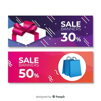 Abstract geometric sale banners with realistic elements
