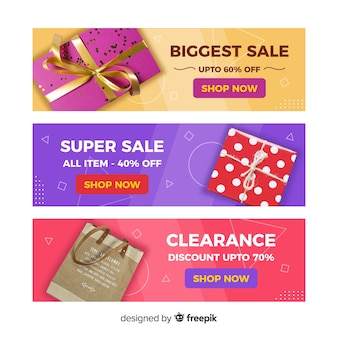 Abstract geometric sales banners with realistic elements