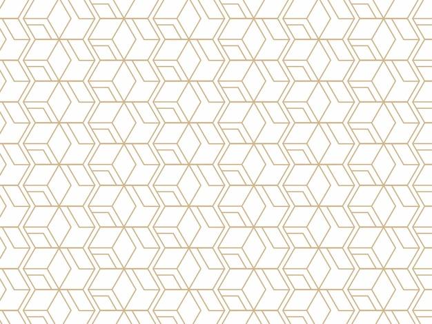 黄金と白の色で抽象的な幾何学的なシームレスパターンの背景。