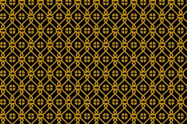 抽象的な幾何学的なシームレスパターン。中国の窓と正方形の要素の金と黒の色
