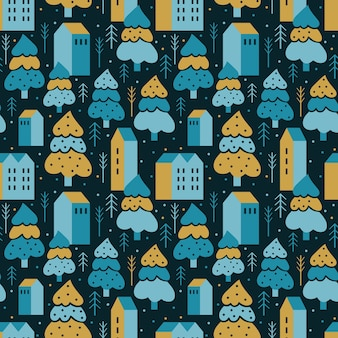 Abstract geometric seamless pattern cozy village among winter forest.