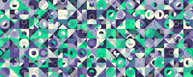 Abstract geometric seamless pattern design in retro style
