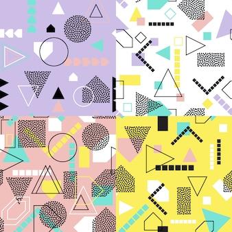Abstract geometric seamless pattern set