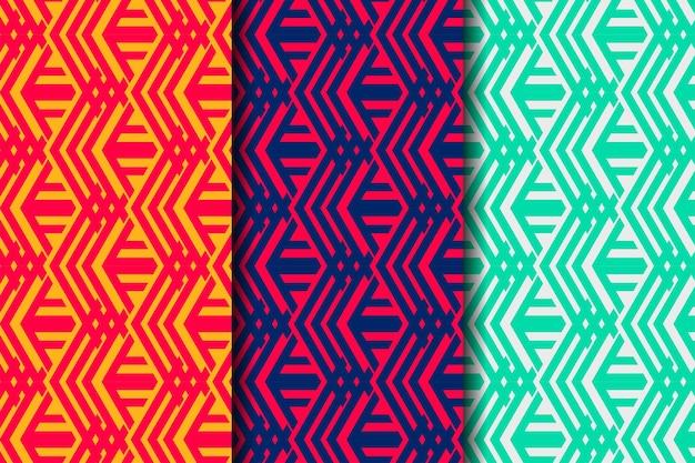대담한 모양 요소와 추상적 인 기하학적 원활한 패턴 템플릿 디자인. 세 가지 색상 조합을 선택할 수 있습니다. 분홍색 노란색, 파란색 빨간색 및 회색 녹색.