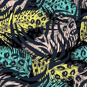 Abstract geometric seamless pattern with animal print trendy hand drawn textures