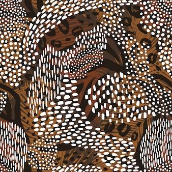 動物のプリントと抽象的な幾何学的なシームレスなパターン。トレンディな手描きのテクスチャ。