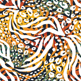 Abstract geometric seamless pattern with animal print
