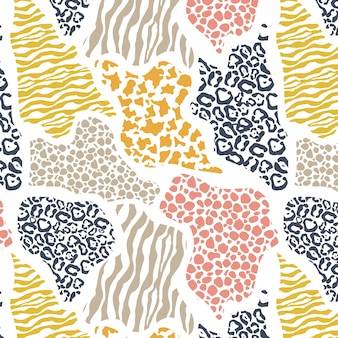 Abstract geometric seamless pattern with animal print.