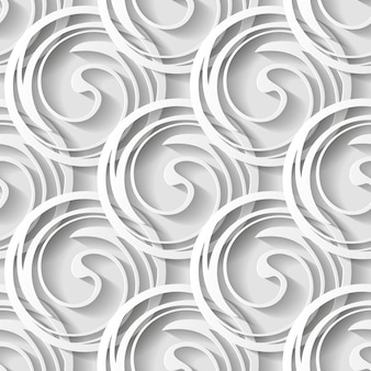 Abstract geometric seamless pattern with circles and shadows