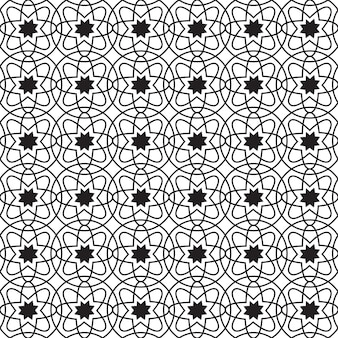 Abstract geometric seamless pattern with circles and simple flowers of repeating structure