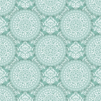 Abstract geometric seamless pattern with floral elements.