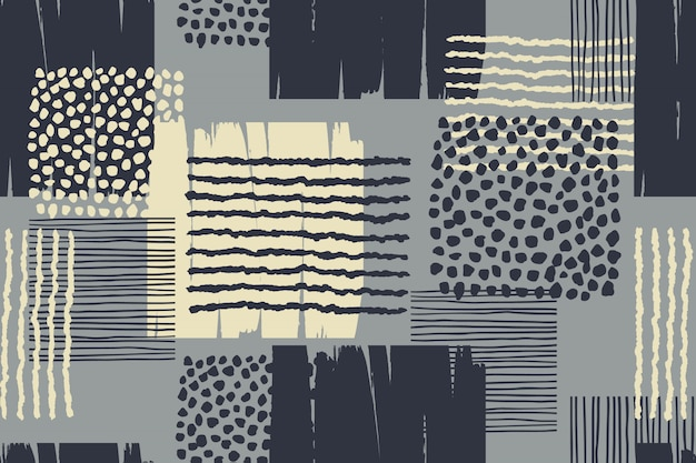 Abstract geometric seamless pattern with hand drawn textures.