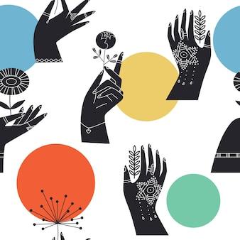 Абстрактный геометрический бесшовный образец руками