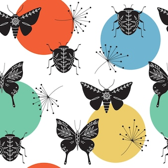 Abstract geometric seamless pattern with insects