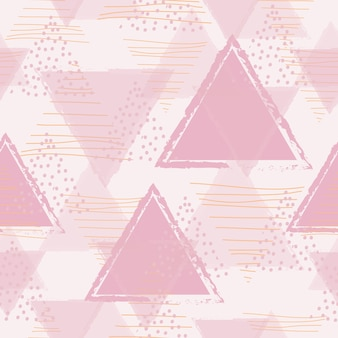 Abstract geometric seamless pattern with pink triangle