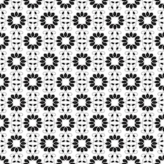 ミニマルなモノクロスタイルの図で繰り返し構造を持つ抽象的な幾何学的なシームレスパターン