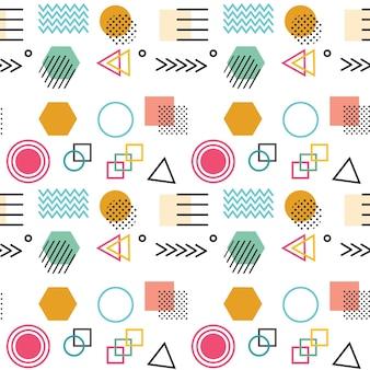 円、正方形、点、線などの単純な形状の抽象的な幾何学的なシームレスパターン