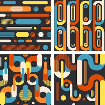 Abstract geometric seamless patterns on dark background.