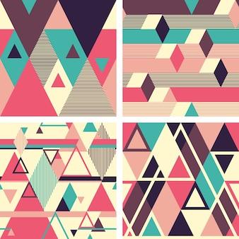Abstract geometric seamless patterns on light background. set 2