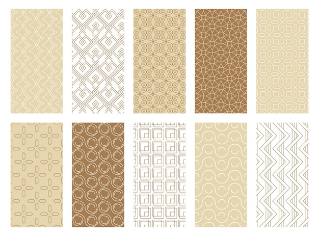 Abstract geometric seamless patterns set