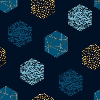 Abstract geometric seamless repeat pattern with hexagons and glitter texture