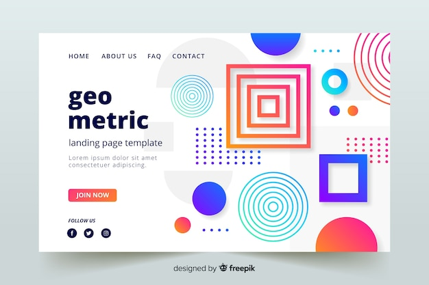 Abstract geometric shape landing page template