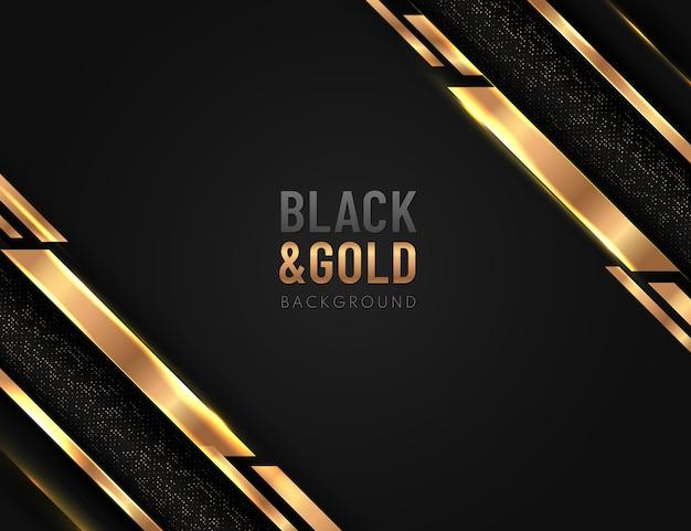 반짝이와 황금 라인 빛나는 점 황금 조합으로 검은 배경에 겹치는 추상 기하학적 모양.