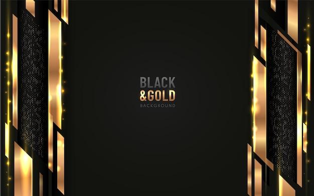 반짝이와 수직 황금 라인 빛나는 점 황금 조합으로 검은 배경에 겹치는 추상 기하학적 모양.