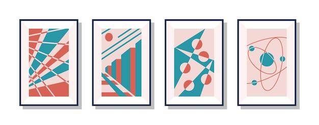 インテリアデザインの抽象的な幾何学的形状の画像セット。アートギャラリー、美容院または美容スタジオの部屋の装飾のベクトル図のキャンバスに芸術的なポスターのコレクション