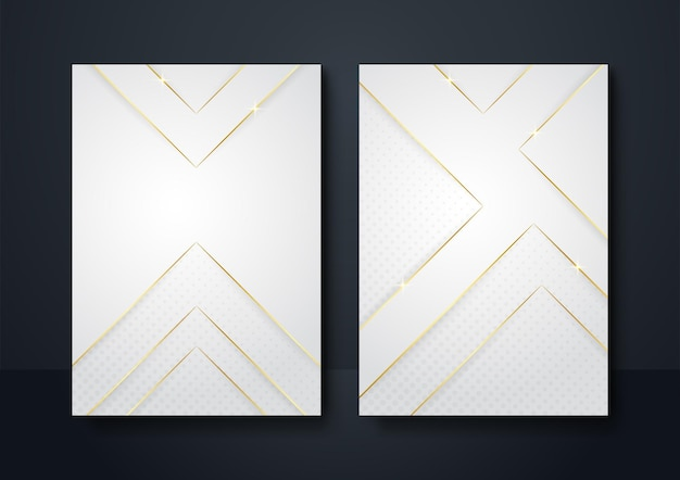 プレゼンテーションデザインのために重ねられた金色の線の光と影の3dと抽象的な幾何学的形状の白い背景。ソーシャルメディアストーリーテンプレートの背景、バナー、チラシ、ポスター
