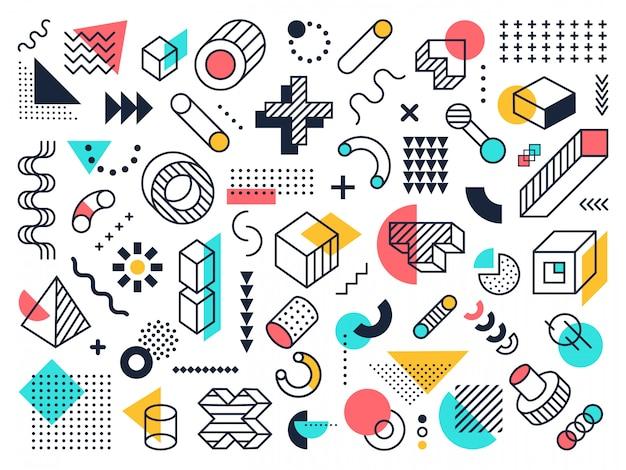 抽象的な幾何学的図形。円と三角形、グラフィックのファンキーなメンフィス飾り、抽象的な要素。レトロな構成主義のシンボルシンボルコレクション。現代的な背景