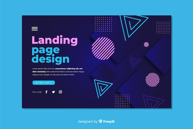 Abstract geometric shapes landing page template