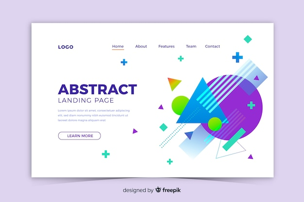 Abstract geometric shapes landing page