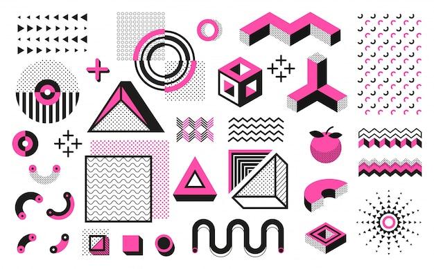 抽象的な幾何学的図形。メンフィスのモダンなミニマルな要素、流行に敏感な黒のハーフトーンパターン。トレンディな幾何学的アート