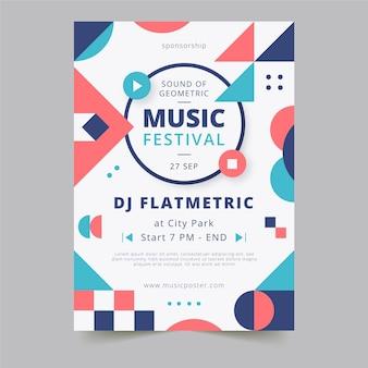 抽象的な幾何学的形状音楽祭垂直ポスターテンプレート