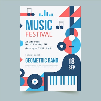 Шаблон вертикального плаката музыкального фестиваля абстрактных геометрических фигур