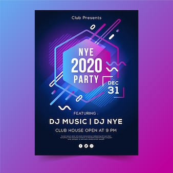 Abstract geometric shapes of new year 2020 flyer