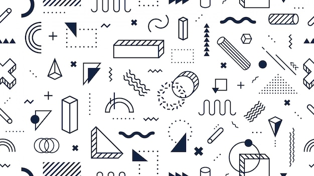 Abstract geometric shapes seamless pattern. trendy memphis style, funky 80s memphis style design background vector illustration