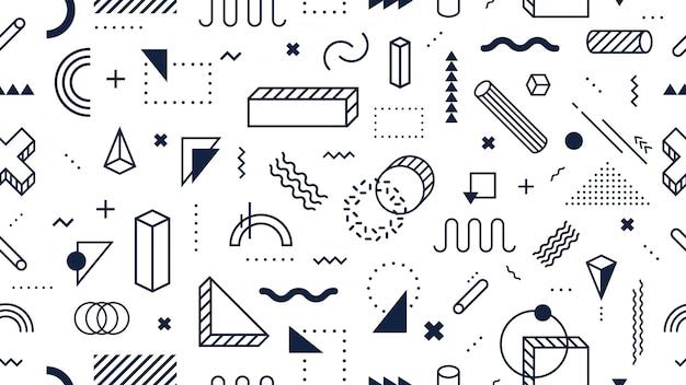 抽象的な幾何学的図形のシームレスなパターン。トレンディなメンフィススタイル、ファンキーな80年代メンフィススタイルデザイン背景ベクトルイラスト