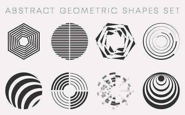 抽象的な幾何学的形状は、チラシ、パンフレットの表紙、壁紙、ポスターのタイポグラフィ、その他の印刷製品、またはさまざまなwebプロジェクトのデザインを設定します。ベクトルイラスト。