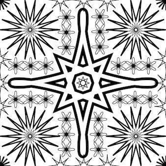 抽象的な幾何学的なシンプルなシームレスパターンセット花柄シンボルテクスチャベクトルイラスト