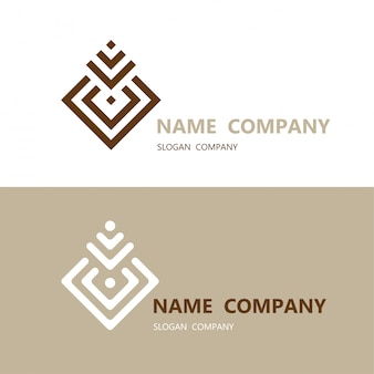Abstract geometric square design element with business card template logo