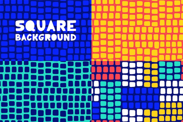 Abstract geometric square pattern background set for business brochure cover design.