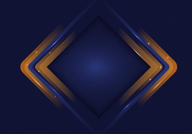 Abstract geometric square rounded frame layered with dark blue background and dust, illuminated light. vector illustration