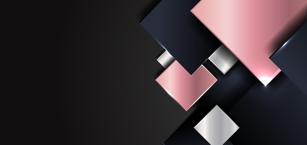 Abstract geometric square shape shiny pink gold, silver, dark blue color overlapping with shadow on black background.