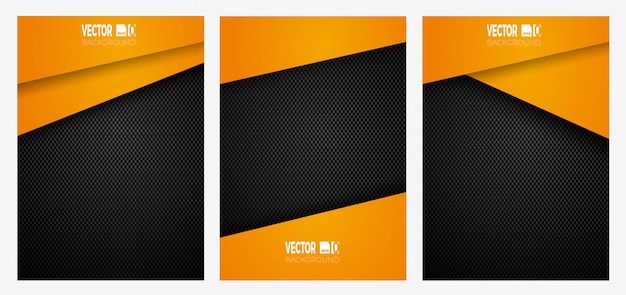 Abstract geometric stripes on carbon fiber banner, orange color on dark texture