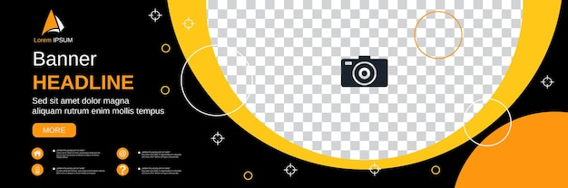 Abstract geometric style horizontal banner, social media cover, booklet, coupon vector design template