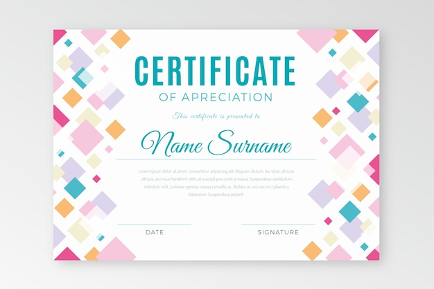 Abstract geometric template certificate