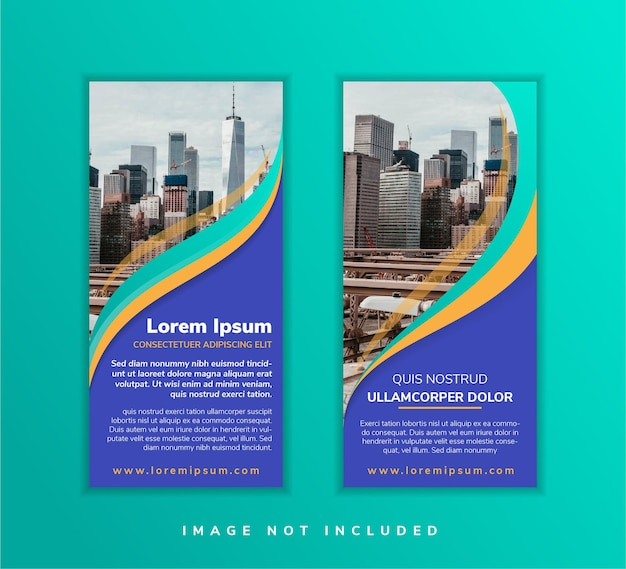 Abstract geometric template design with blue background set vertical banner with empty place