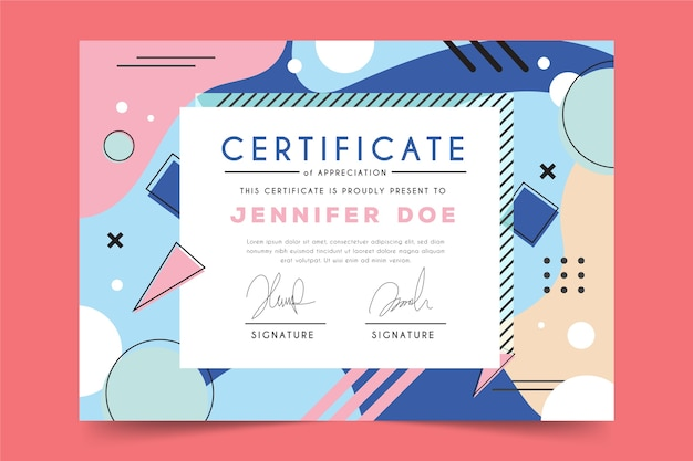 Abstract geometric theme for certificate template